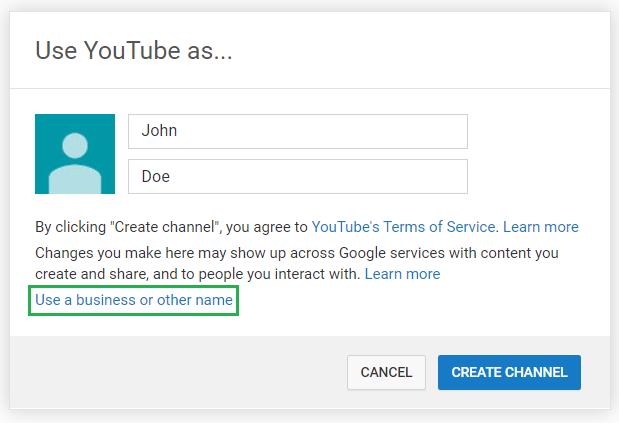 create youtube account
